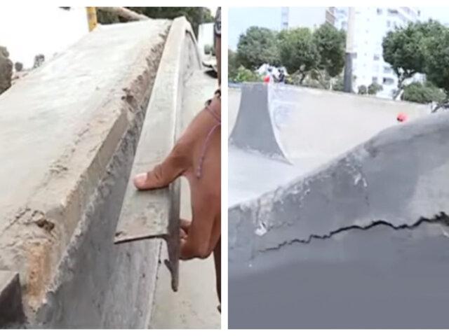 Miraflores: Skatepark en completo estado de abandono y alta peligrosidad