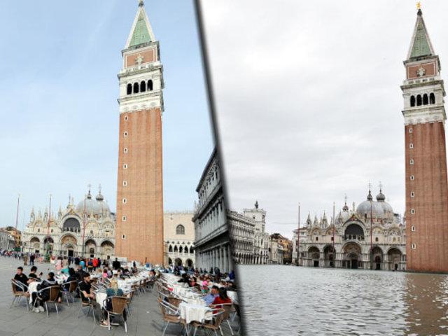 Venecia: el impactante antes y después tras las inundaciones por la marea alta