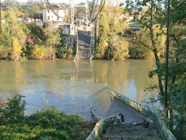 Francia: derrumbe de puente colgante dejó un muerto y varios desaparecidos