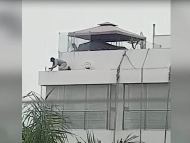 San Isidro: captan a trabajador pintando edificio sin medidas de seguridad