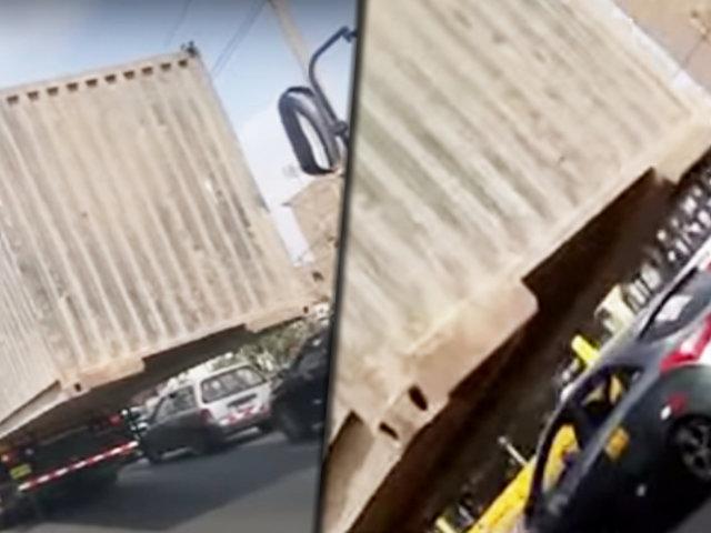 Callao: container es trasladado de manera temeraria por la avenida Argentina