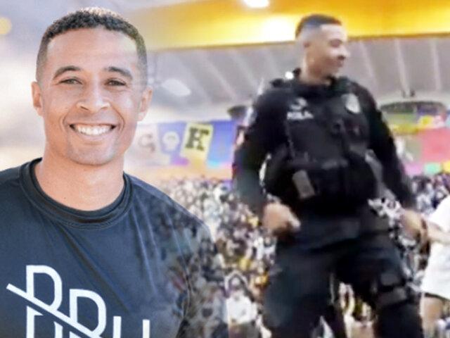 EEUU: policía se despide con baile de alumnos de colegio donde trabajaba