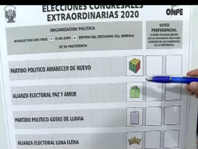 Así será la cédula de votación para estas elecciones congresales 2020