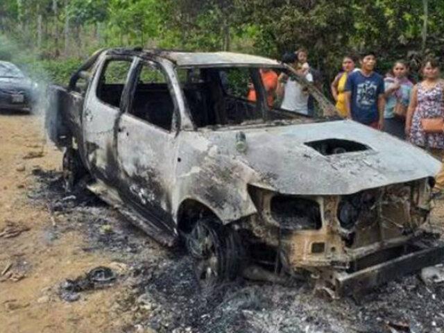 Cusco: comuneros queman un vehículo y retienen a policías en el Vraem