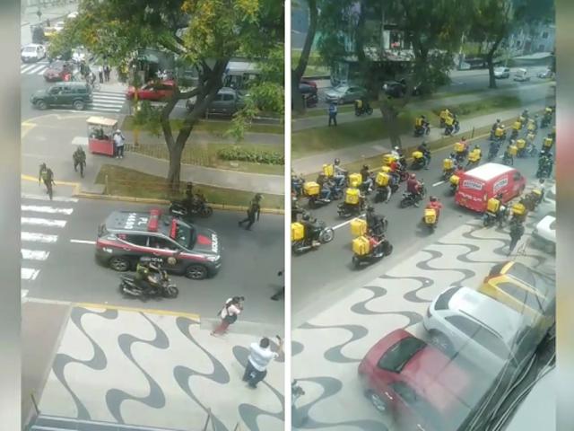 Repartidores de Glovo bloquean avenida Arequipa en señal de protesta