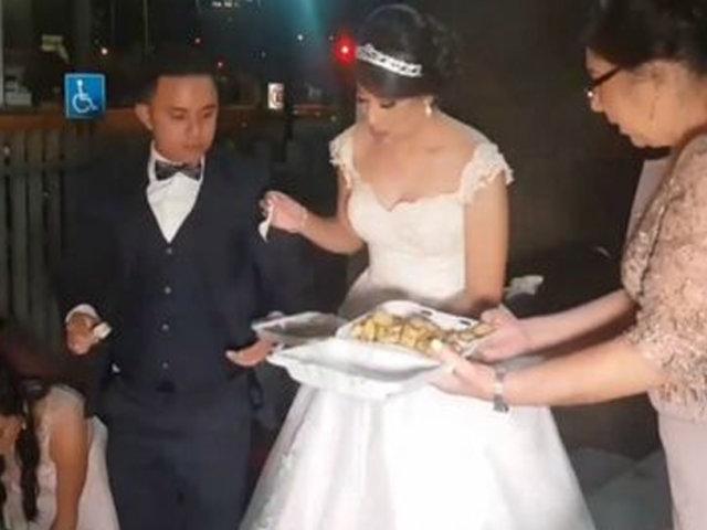 VIDEO | ¡Un hermoso gesto! Pareja comparte banquete de bodas con niños de hospital