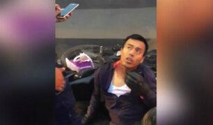 Ate: policía aparentemente ebrio chocó su motocicleta contra una miniván