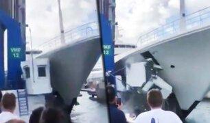 Caribe: lujoso yate de un multimillonario choca y destruye cabina de control en un muelle