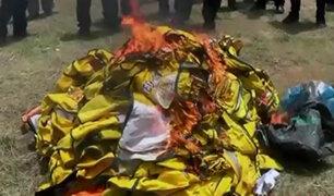 Puerto Maldonado: queman chalecos utilizados por falsos taxistas