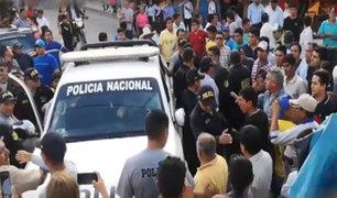 Patrullero se despista y causa accidente en plaza de Armas de  Chota