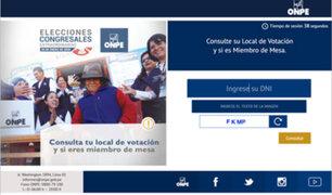 "ONPE habilita aplicación web""Consulta  tu local de votación"""
