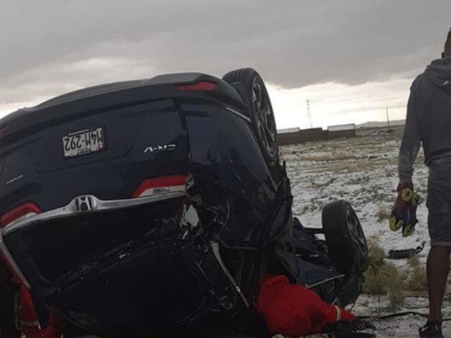 Jugadores de Binacional sufren aparatoso accidente automovilístico