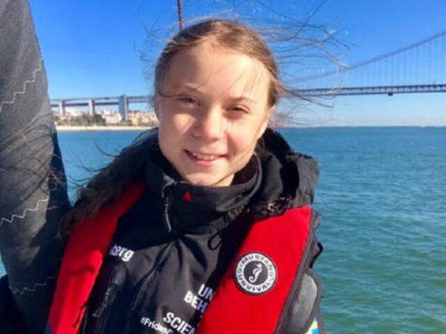 Rumbo a la COP25: Greta Thunberg desembarca en Lisboa tras 20 días de viaje