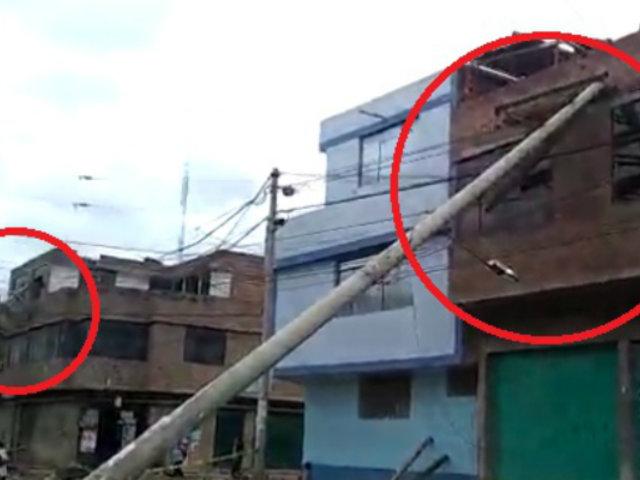 Junín: tres postes de alumbrado público cayeron sobre viviendas