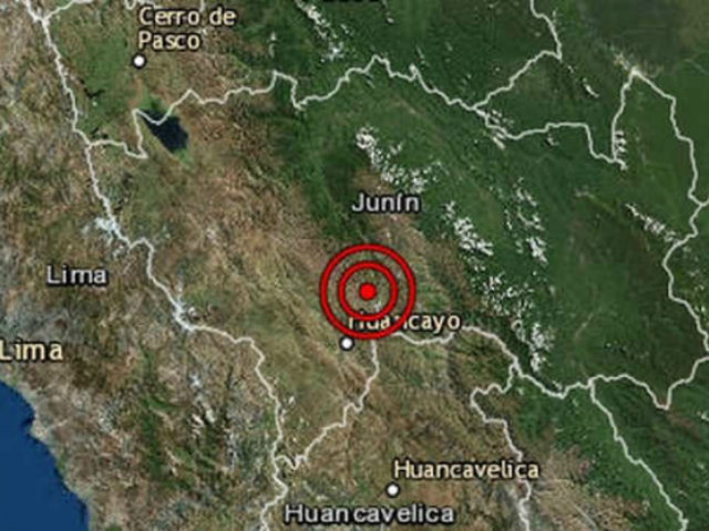 Sismo de magnitud 4.1 se registró esta tarde en Junín