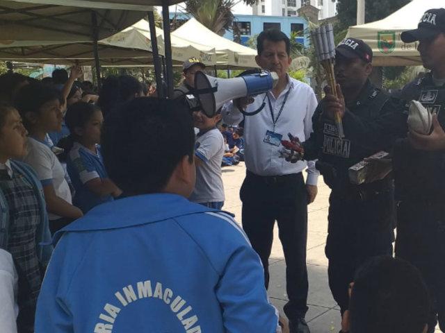 Municipalidad de Lince y UDEX sensibilizan a escolares para evitar accidentes por uso de pirotécnicos