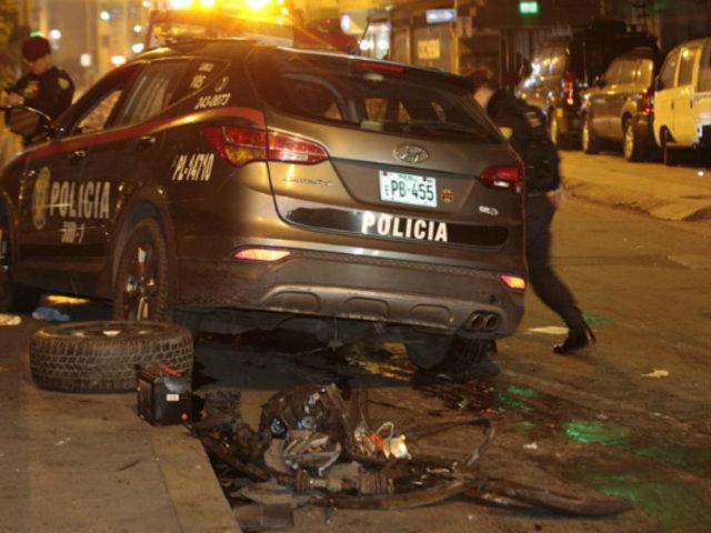 Patrullero policial impactó violentamente contra auto en Ate