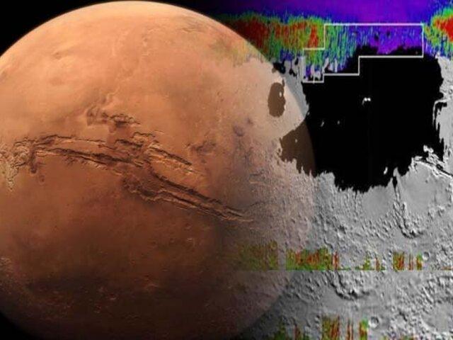 NASA revela un mapa de agua congelada en Marte