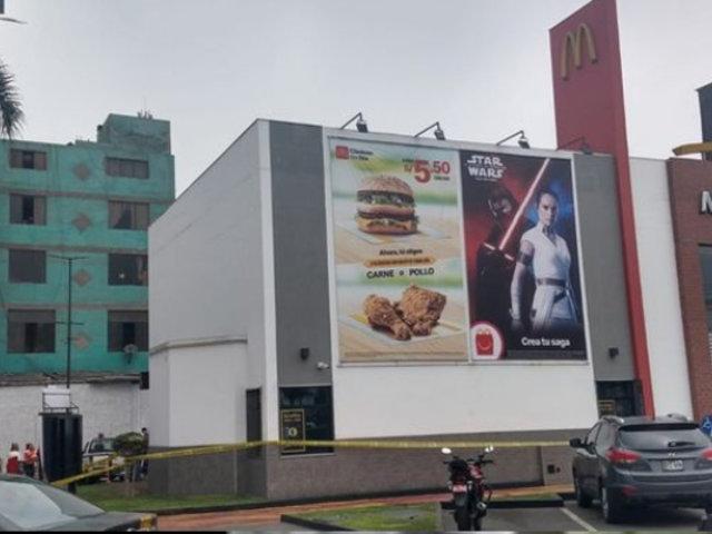 Pueblo Libre: dos trabajadores de McDonald's mueren al interior de tienda