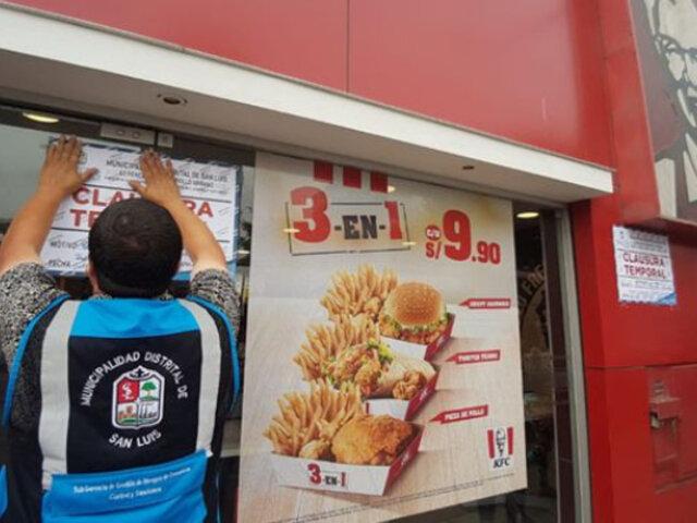 KFC: clausuran dos locales por no contar con medidas de seguridad