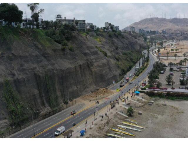 Barranco: este martes un tramo de la Costa Verde estará cerrada por trabajos en acantilados