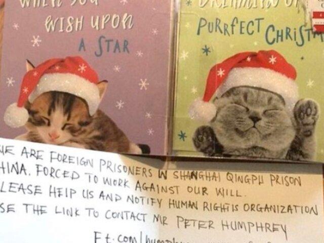 Encuentran en tarjeta navideña el mensaje de un preso en China: ''Por favor, ayúdennos''