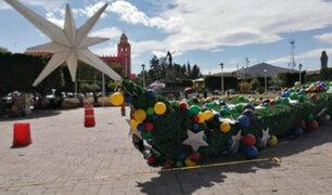 Impactantes imágenes: viento derriba gigantesco árbol de Navidad