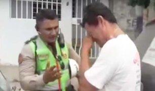 Tumbes: chofer llora para que policía no lleve su vehículo al depósito