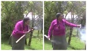 Trujillo: mujer demuestra gran habilidad para encender pirotécnicos