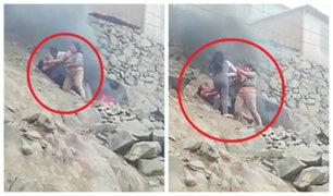 Comas: madre e hija son atacadas por vecinos por quemar basura