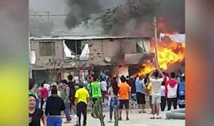 VES: camión cisterna explota y ocasiona incendio en tres viviendas