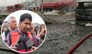 Villa El Salvador: alcalde recorrió zona afectada por explosión de camión cisterna