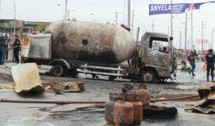VES: desnivel en pista habría provocado fuga de gas de camión cisterna