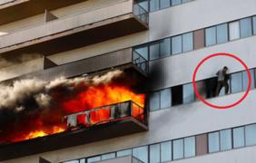EEUU: residentes escapan de edificio en llamas por las ventanas
