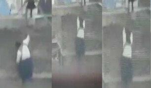 Huaraz: mujer desesperada intenta lanzarse del tercer piso de su vivienda durante incendio