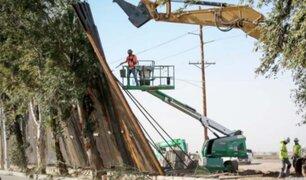 EEUU: fuertes vientos derribaron parte del muro fronterizo con México