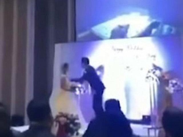 Novio muestra video sobre infidelidad de su pareja en plena boda