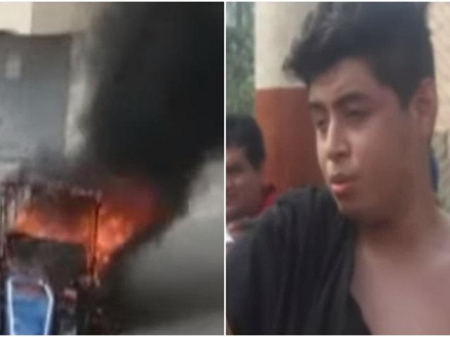 SMP: enardecidos vecinos queman mototaxi implicada en robo