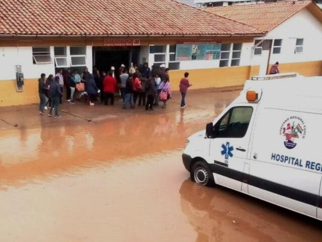 Cusco: pacientes del Hospital Regional fueron atendidos pese a inundación