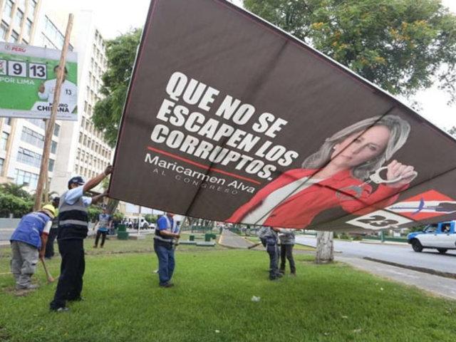 Jesús María: 45 paneles de propaganda electoral fueron retirados