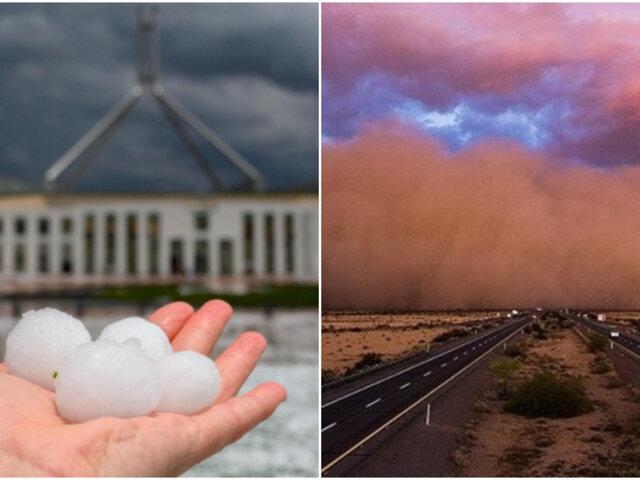 Granizada y tormenta de polvo sorprendió a los australianos