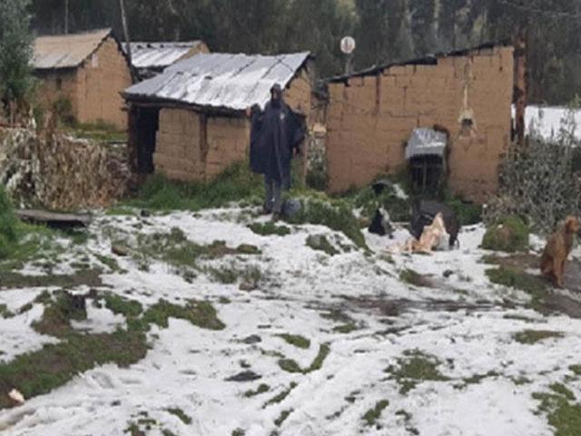 Granizada y fuertes vientos dejan al menos 16 viviendas afectadas en Áncash