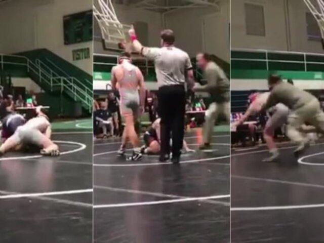 EEUU:  hombre ataca al oponente de su hijo durante combate de lucha libre