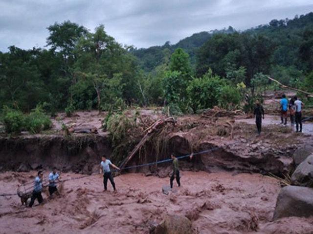 San Martín: desborde de río daña puente e inunda centros poblados