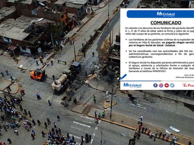 EsSalud: damnificados por tragedia en Villa El Salvador no pagarán por ningún servicio