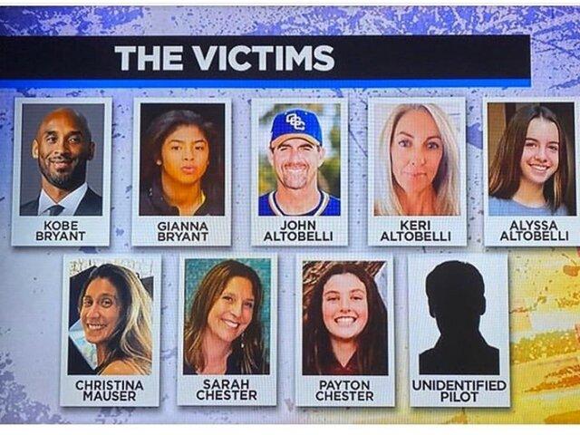 Policía identificó a las nueve víctimas del accidente en el que falleció Kobe Bryant