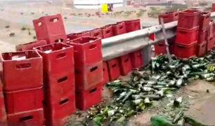Ancón: decenas de botellas de cerveza terminaron en la pista tras accidente