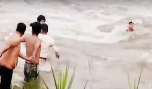 Satipo: rescatan a hombre que casi fue arrastrado por caudaloso río