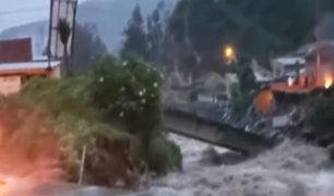 Pasco: colapsa puente en Paucartambo tras lluvia que duró nueve horas