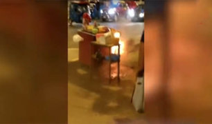 SJL: se incendió el balón de gas de un puesto ambulante